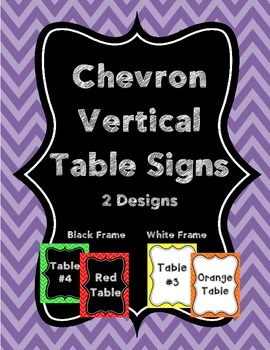 Chevron Table Name Signs- Vertical