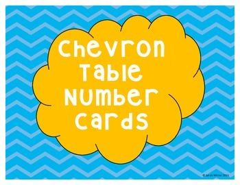 Chevron Table Number Cards