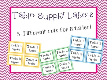 Chevron Table Supply Labels
