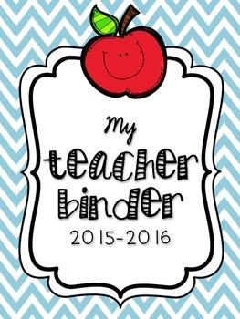 Teacher Binder in Blue Chevron - 36 Pages of Organization!