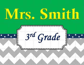 Chevron Teacher's Name Sign Green and Navy