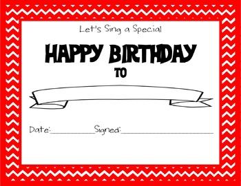 Chevron Themed Happy Birthday Certificate Red