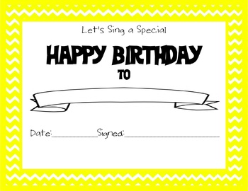Chevron Themed Happy Birthday Certificate Yellow