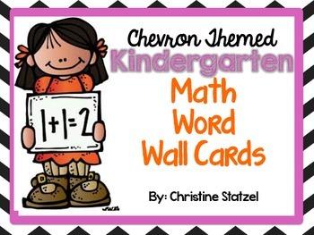 Chevron Themed Kindergarten Math Word Wall Cards {Common Core}