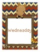 Chevron Woodland Friends Days of the Week Posters