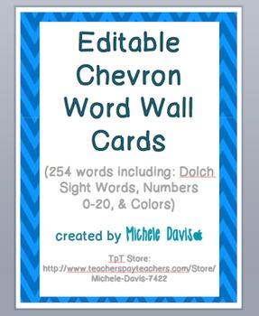 Chevron Word Wall Cards - Editable - Blue