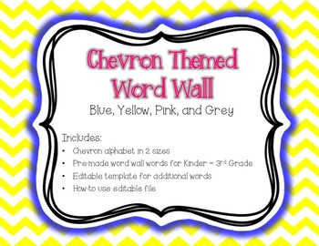 Chevron Word Wall {Editable Card Template Included} Blue,