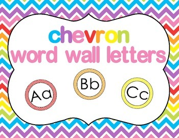 Labels - Chevron Word Wall Letters