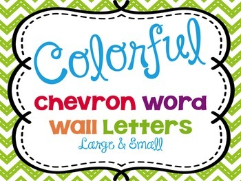 Chevron Word Wall Letters Large and Small sizes