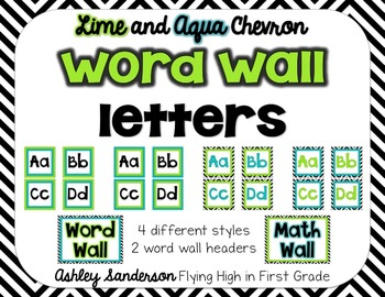 Chevron Word Wall Letters {lime and aqua}