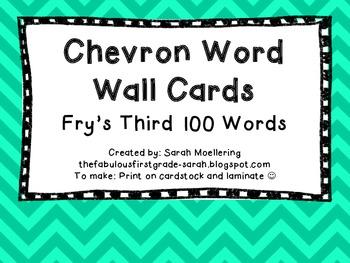 Chevron Word Wall Words (Fry's Third 100)
