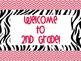 Chevron & Zebra Themed Welcome Signs for Grades Preschool-