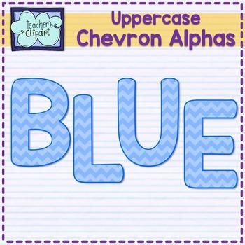 Chevron alphas letters {UPPERCASE - BLUE}