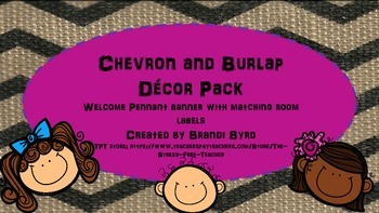 Chevron and Burlap Welcome Pennant Banner with matching labels
