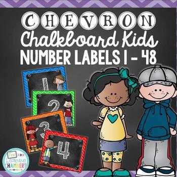 Chevron and Chalkboard Kids Number Labels: Editable, Organ