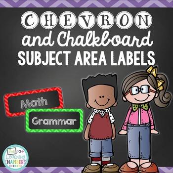 Chevron and Chalkboard Subject Area Labels: Freebie, Class