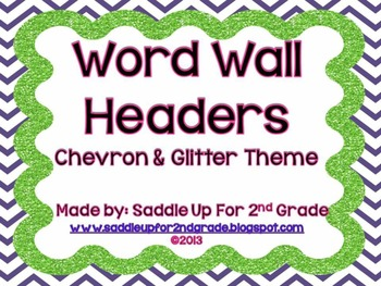 Chevron and Glitter Word Wall Headers