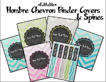 Chevron and Chalkboard *Editable* Binder Covers and Spines