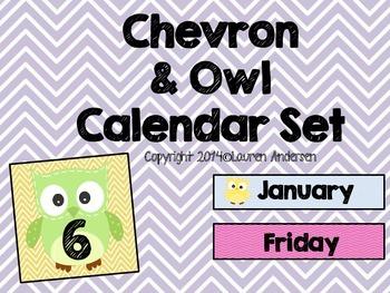 Chevron and Owl Calendar Set