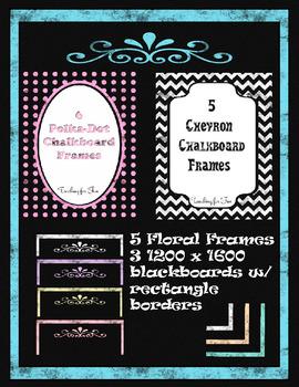 Chevron and Polka-Dot Chalkboard Papers and Freebies (PU and CU)