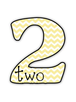 Chevron and Polka Dot Number Pictures with Words
