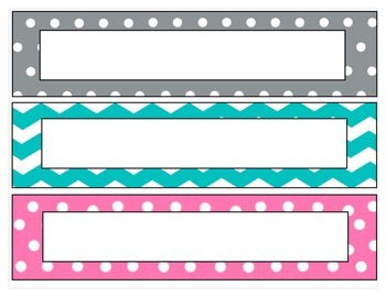 Chevron and polka dot nametags