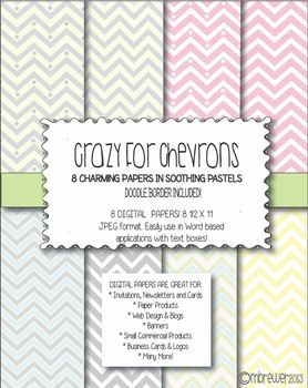 Chevron digital paper in soothing pastels!