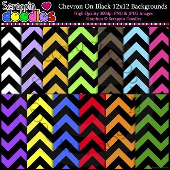 Chevron on Black 12x12 Backgrounds