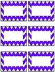 Chevron student name tags or labels- pink & purple