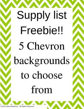 Chevron supply list format (FREEBIE! 5 colors)