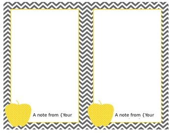 Chevron with Yellow Apple Notes 2 per page-Word Document