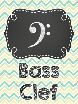 Chevron/Chalk Music Note Posters