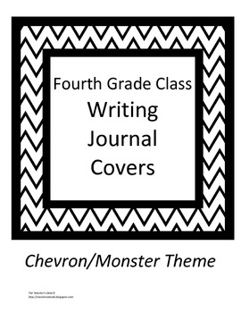 Chevron/Monster Theme Class Writing Journal Covers gr. 4