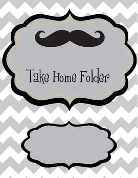 Chevron/Mustache Take Home Folder/Binder Cover