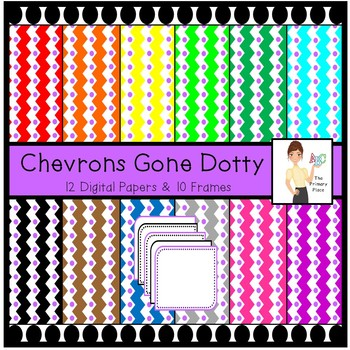 Chevrons Gone Dotty - Digital Papers and Frames