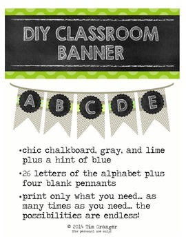 Chic Chalkboard & Gray & Lime Banner