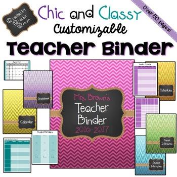 EDITABLE Teacher Binder 2016-2017 {Chic and Classy}