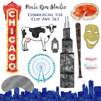 Chicago - American Cities Watercolor Clipart