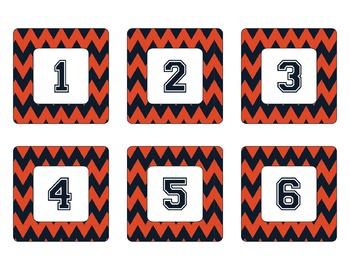 Chicago Bears Inspired Navy and Orange Chevron Calendar Pi