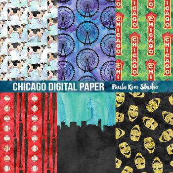 Chicago Watercolor Digital Paper
