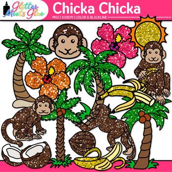 Chicka Boom Clip Art {Palm Trees, Monkey, & Flower for ELA