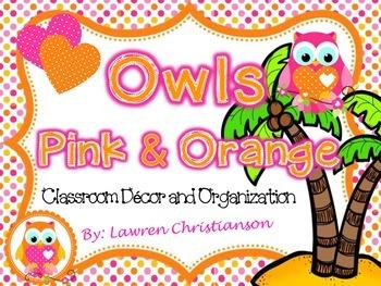 Editable Pink and Orange Polka Dot OWLS Classroom Decor &
