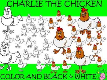 Chicken Clip Art // Charlie the Chicken Set: 32 Different