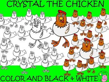 Chicken Clip Art // Crystal the Chicken Set: 30 Different