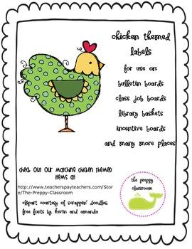 Chicken Themed Chalkboard Labels