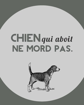 Chien qui aboit ne mord pas - digital French proverb poster