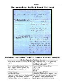 Child Labor- Original 1859 Incident Report Worksheet