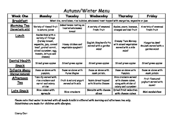 Childcare daycare menu for Autumn Winter plus recipes for