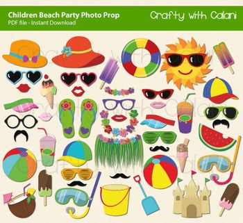 Children Summer Beach and Pool Party Photo Booth Props, 47