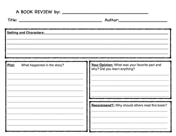 Children's Book Review Worksheet
